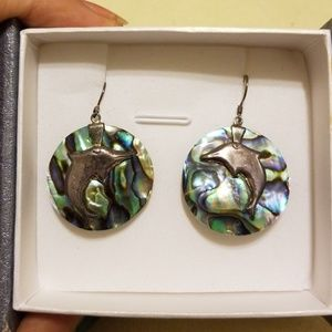 Abalone earrings with dolphin on front
